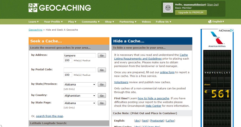 Geocaching.com sivuston kätköhaku ei ole kaikista selkein, mutta pienellä opettelulla silläkin kätköjen haku onnistuu.