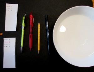 Kuva 2 - Koejärjestely. Neljä erilaista kynää ja kaksi paperia ja vettä.