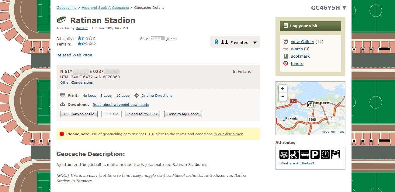 Kuva 4 - Ratinan stadion -kätkön kätkökuvaus. Kuvasta olen poistanut koordinaatit mahdollisen ilkivallan vuoksi