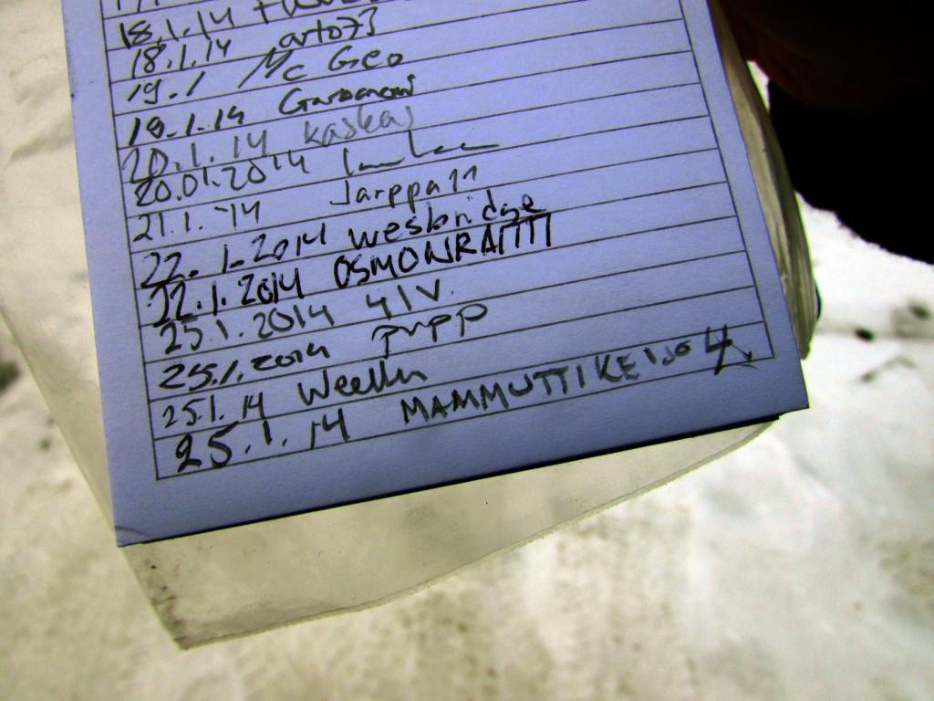 Kuva 8 - Logikirjaan kirjataan löytäjän nimimerkki ja päivämäärä.