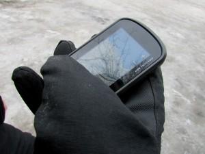 Kuva 4 - Oregon 650 laitteen näytön käyttö hanskat kädessä onnistuu vain satunnaisesti.