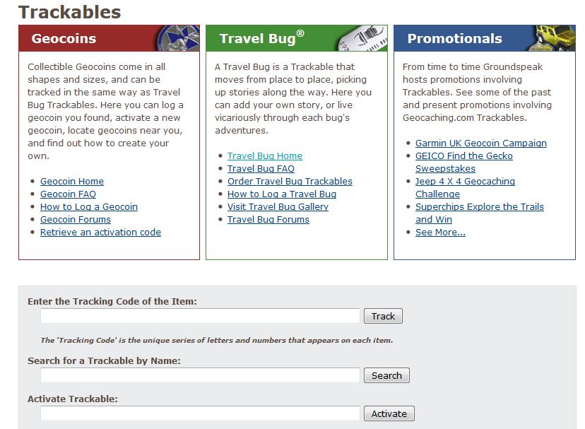 Kuva 3 - Matkaajien hakusivu löytyy osoitteesta www.geocaching.com/track. Ylimmäisen kentän avulla voi matkaajaa etsiä seurantakoodin avulla. Myös nimen avulla matkaaja saattaa löytyä.