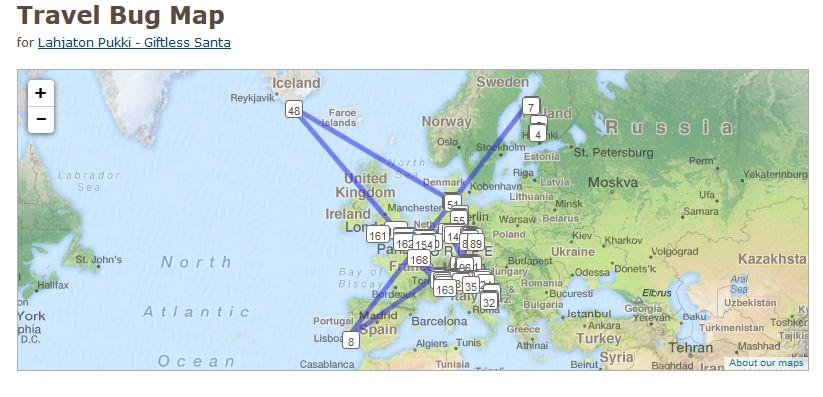 Kuva 1 - Travel bugin kartalta näkee missä päin maailmaa matkaaja on reissannut.