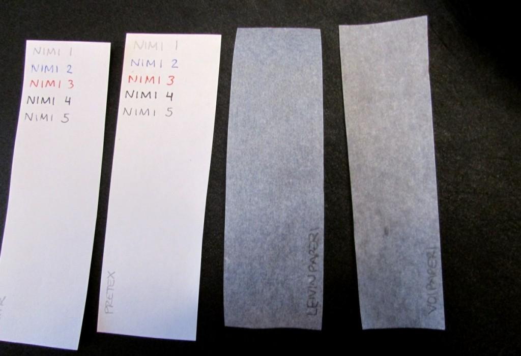 Kuva 1 - Testatut paperit vasemmalta oikealle: Ritr, Pretex, leivinpaperi, voipaperi.