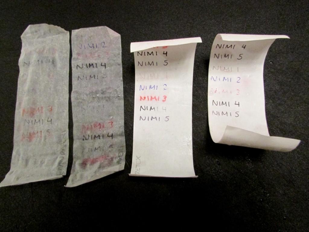 Kuva 10 - Kaikki paperit testin jälkeen. Vasemmalta: Leivinpaperi, voipaperi, Pretex, Ritr
