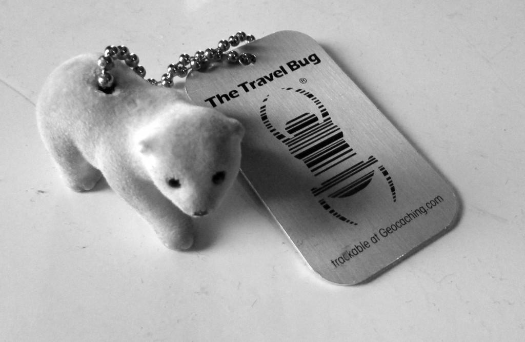 Kuva 2 – Travel bugin tunnistaa mukana kulkevasta metallilätkästä. Itse matkaaja on kiinnitetty ketjulla tähän lätkään.