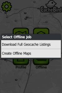 Kuva 5 - Kätköjen ja karttojen lataaminen offline -tilaa varten on helppoa.