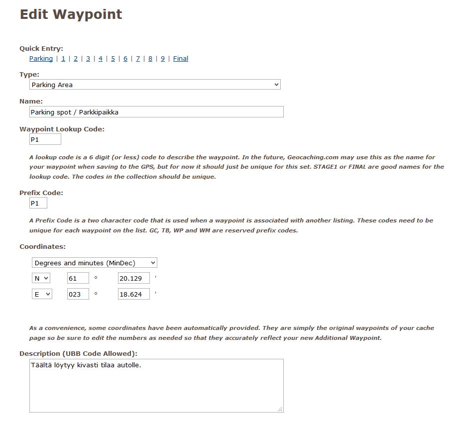 Kuva 13 - Kätkökuvauksen lisäksi myös waypointteja voi lisätä ja muokata myöhemmin niin halutessaan.