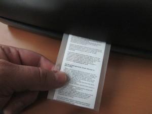 Kuva 7 - Kätkötiedote kannattaa laminoida, jolloin pieni kosteus purkissa ei haittaa.