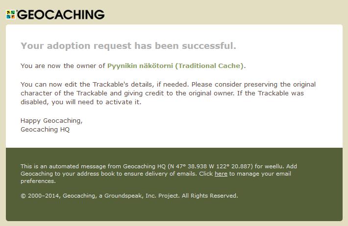Kuva 5 - Adoptointiprosessin lopuksi saat vielä vahvistussähköpostin, että homma onnistui.