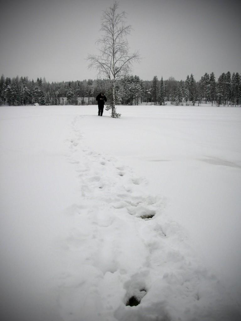 Talvella purkille muodostuu nopeasti geopolku, joka paljastaa purkin sijainnin.