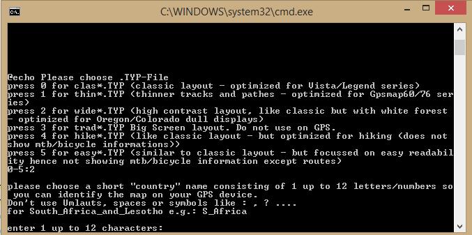 Kuva 8 - Komentoriviohjelma luo gepsiin sopivan karttatiedoston. Valitse vaihtoehdoista Wide layout ja anna kartallesi nimi.