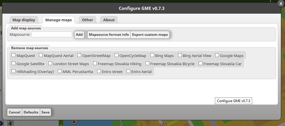 Kuva 6 - Skriptin asetuksista Manage Maps välilehdeltä voi lisätä uusia karttalähteitä.
