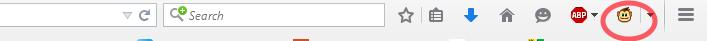 Kuva 3 - Apina-ikoni Firefoxin oikeassa yläkulmassa osoittaa onnistunutta asennusta.
