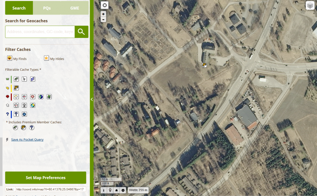 Kuva 7 - Joskus ilmakuvista on hyötyä kun etukäteen tutkii missä kätköt piileksivät.