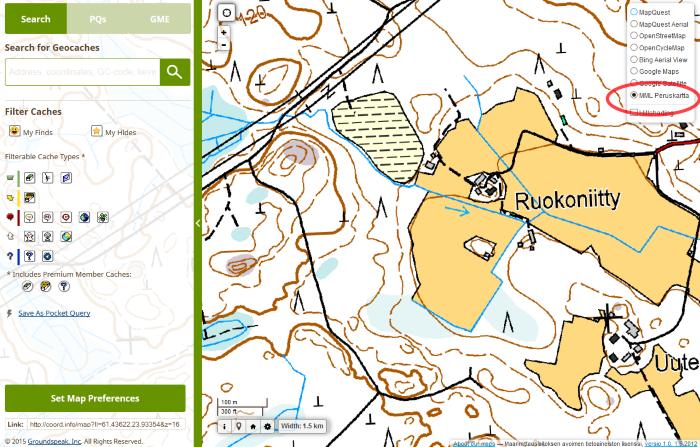 Kuva 5 - GME skriptillä saa geocaching.comin kartan näyttämään kätköt mm. MML:n kartalla