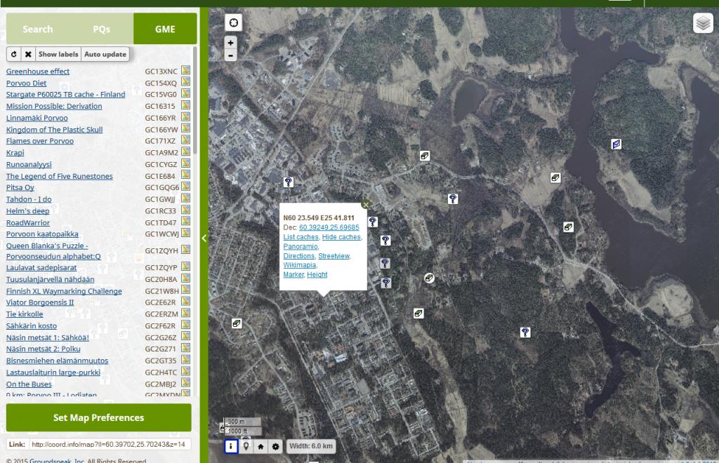 Kuva 8 - GME -skriptin avulla näkee kartalla näkyvät kätköt kätevästi listana vasemmassa palkissa.