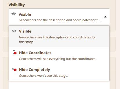 Kuva 2 - Välipisteille tulee valita näkyvyys, eli näkyykö välipisteen koordinaatit kaikille vai ei. Vai onko koko välipiste piilotettu.