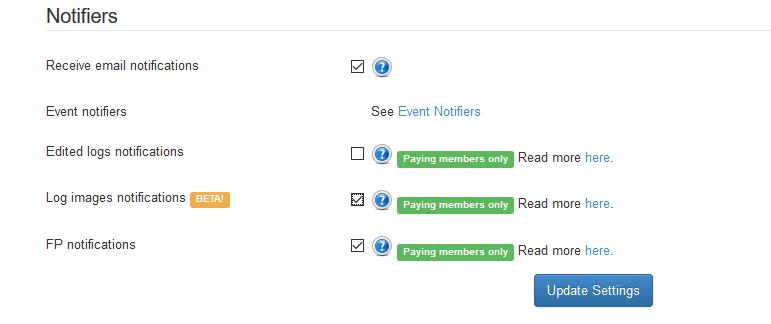Kuva 1 - Project-gc.comin premium-jäsenet voivat tilata sähköposti-ilmoituksia asetuksista.