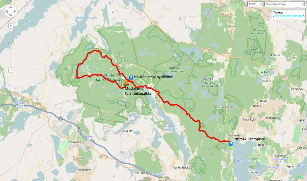 Kuva 1 - Vaelluksen reitti: Lähdimme Pirttimäestä kohti Haukkalammin parkkialuetta. Siitä Mustalammille tulistelemaan ja siitä power trailin reitti myötäpäivään - joskin trailin numerointiin nähden käänteisessä järjestyksessä.