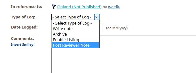 Kuva 1 - Kätkötarkastajille voi laittaa viestiä reviewer note -loggauksella. Nämä loggaukset poistuvat kuvaussivulta kun kätkö julkaistaan.