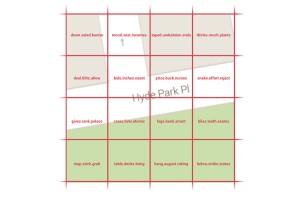Kuva 2 - W3W (What3words) jakaa maapallon 3x3 metrin kokoisiin ruutuihin, joilla on jokaisella oma kolmisanainen nimi.