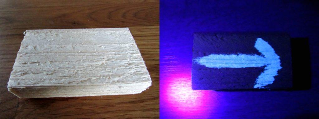 Kuva 25 - Eurolite UV-maali puulle kuivuttuaan ja pimeässä.