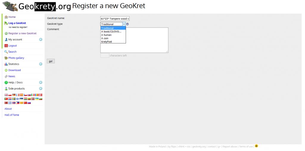 Geokretyn rekisteröinti on helppoa